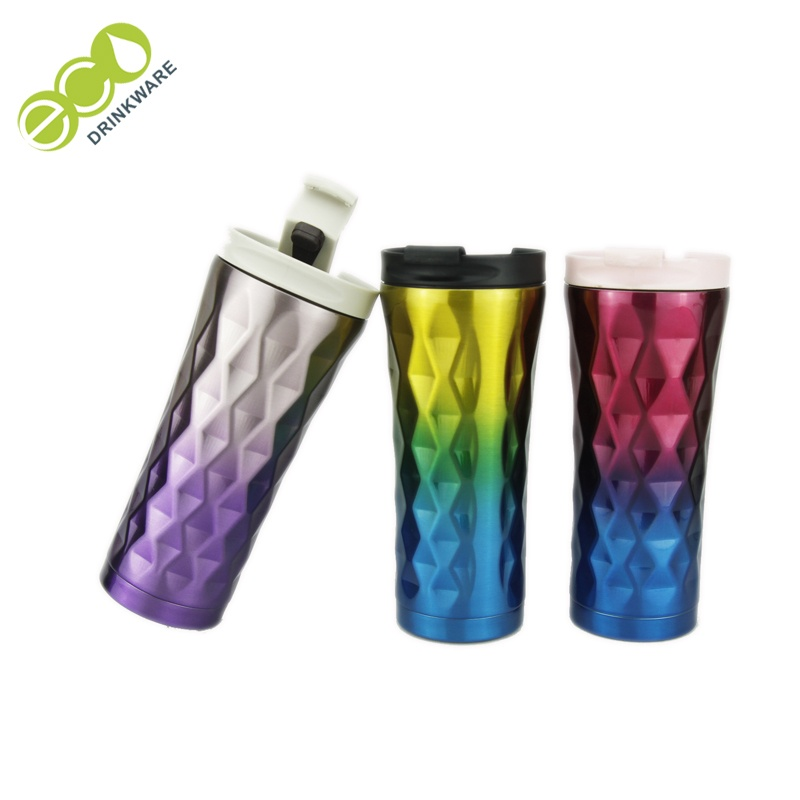 Eco-friendly Double wall travel stainless steel vacuum thermos with straw