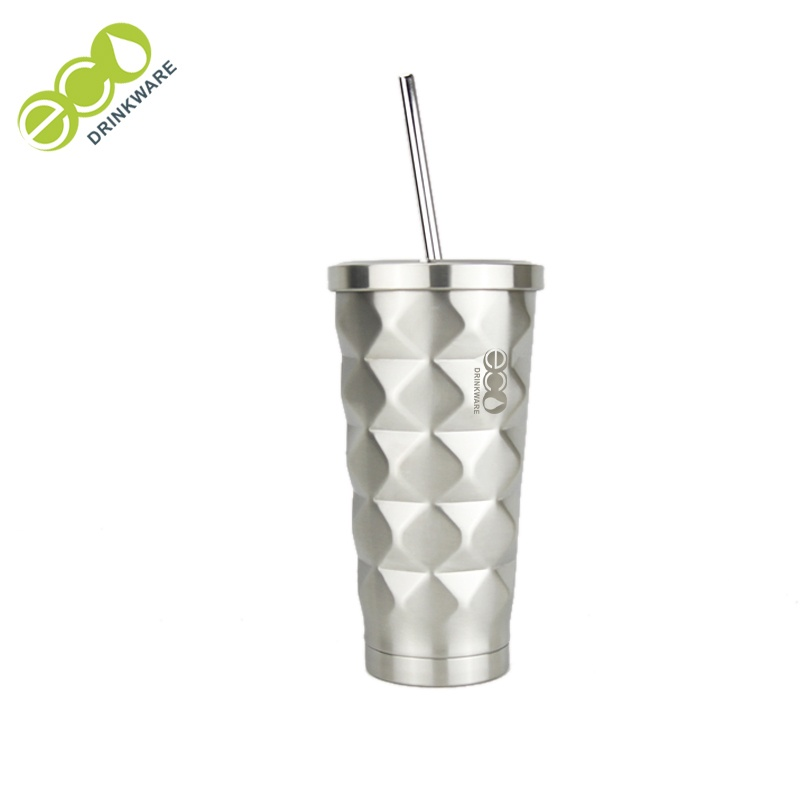 Eco-friendly Double wall stainless steel thermos vacuum flasks with straw