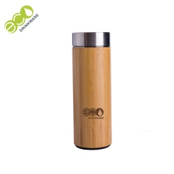 In stock Natural Stainless Steel vacuum flask bamboo coffee cup