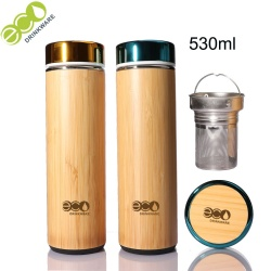 In minimum Natural Stainless Steel bamboo Vacuum Insulated infuser bamboo coffee cup