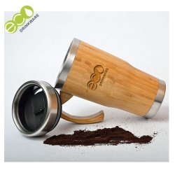 Natural BPA free no mininum Stainless Steel bamboo coffee cup with handle